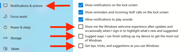 Win10 system notifications