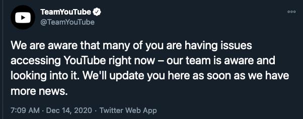 Youtube down Dec 2020
