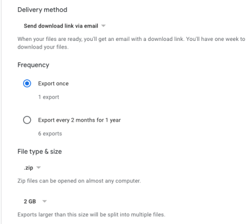 Google Takeout Selection page