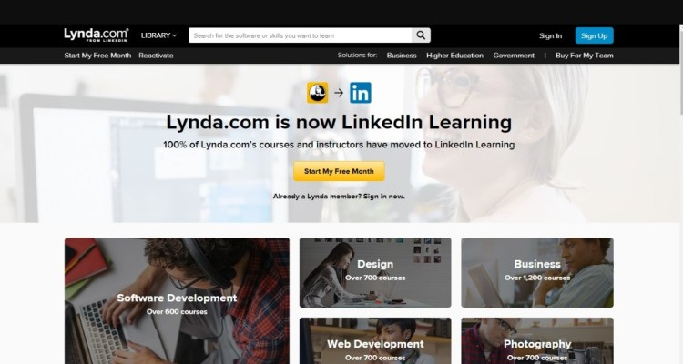 LinkedIn Learning Lynda.com login screen desktop