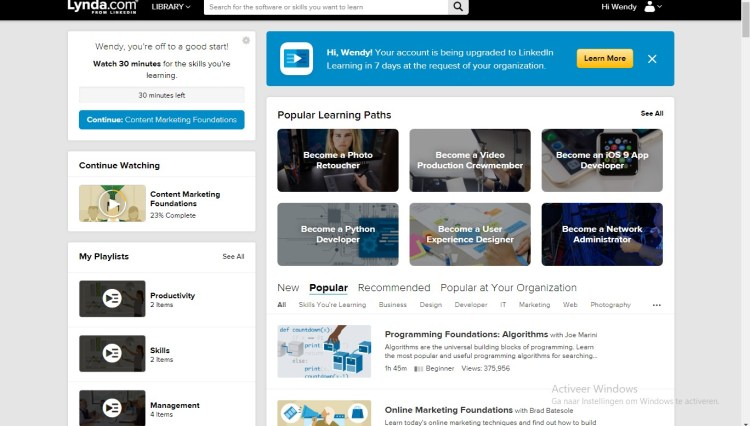 LinkedIn Learning Lynda.com after login screen desktop