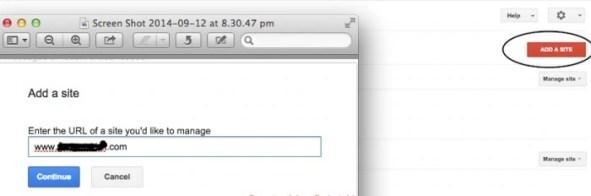 Webmaster tool adding a site