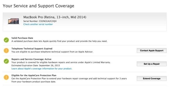 MacBook warranty check screen