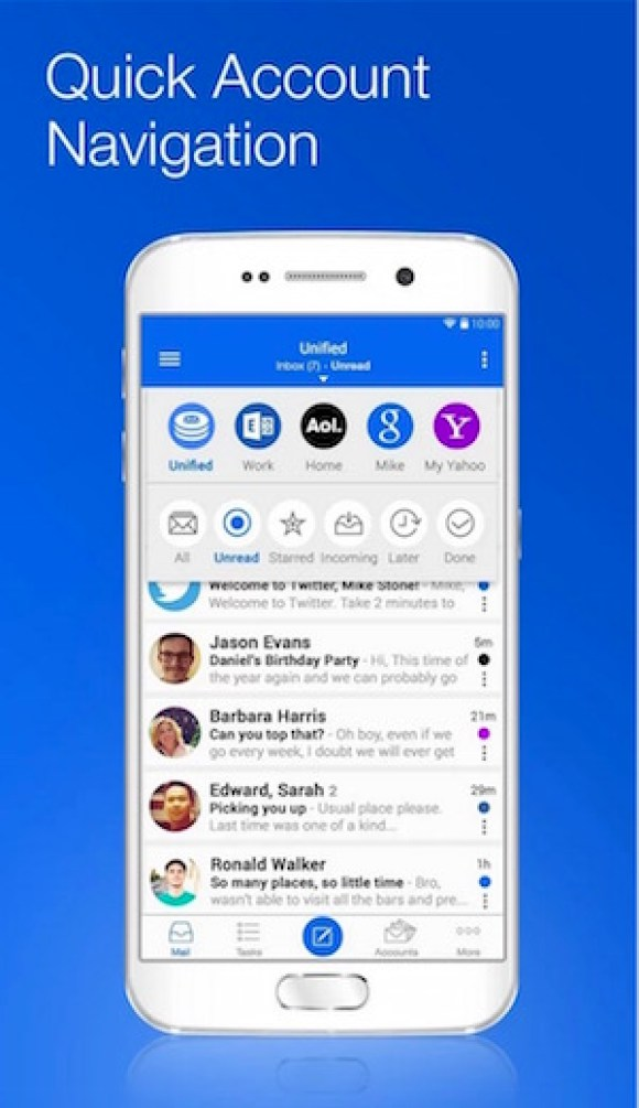Best free email apps for Android Devices to use multiplace email accounts blue mail