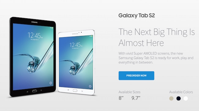 Preorder Samsung Galaxy Tab S2 in US and Canada