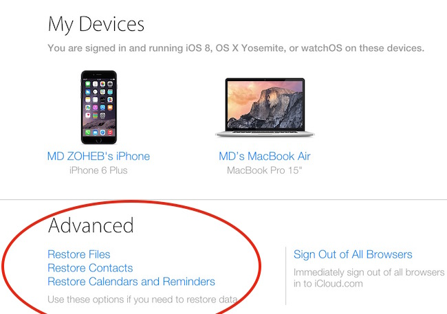 Restore contacts, files and reminder in iCloud