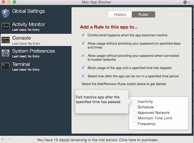 how to password protect individual app on mac