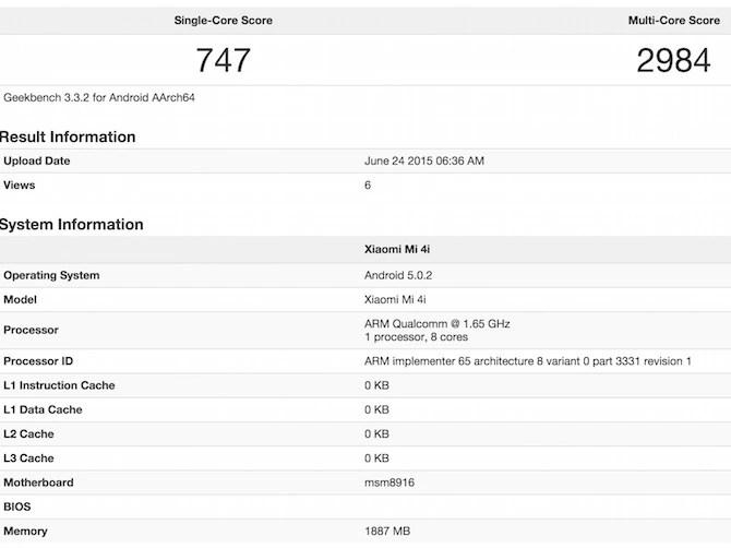 Snapdragon 615 Geekbench 3 benchmark