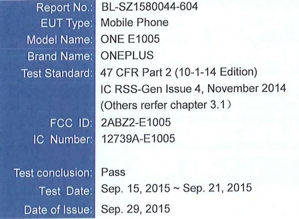 OnePlus X certification detail