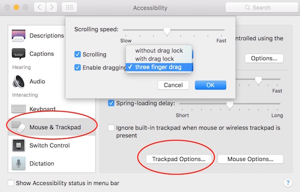 Enable three finger dragging on Mac