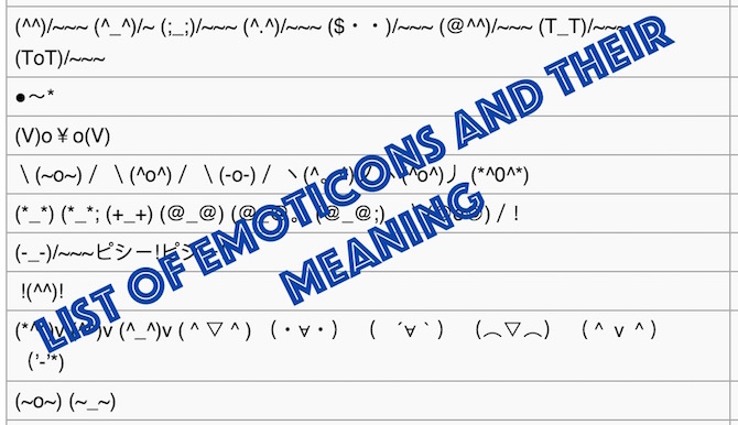 List of Emoticons and their meaning