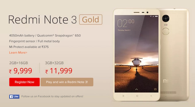 Buy Xiaomi Redmi Note 3 Pro in India