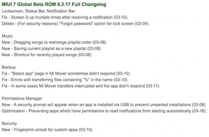 MIUI 7 6317 update change