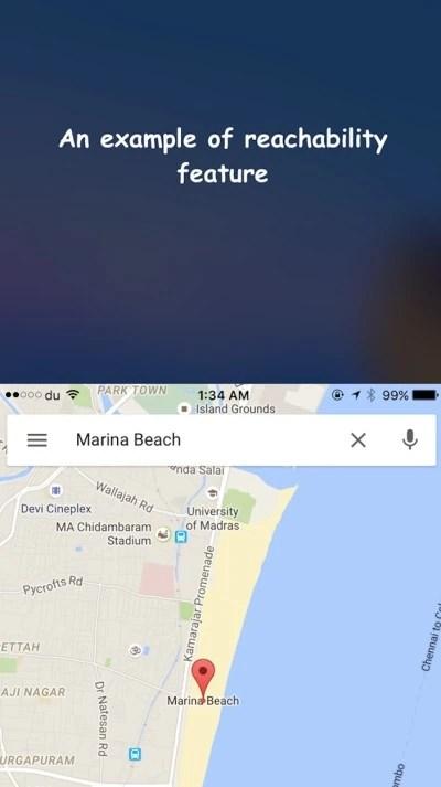 Reachabilty feature on iPhone