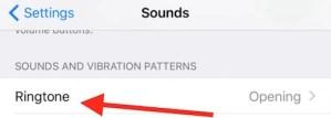 Ringtone settings on iPhone