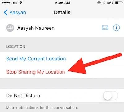 Stop location Sharing