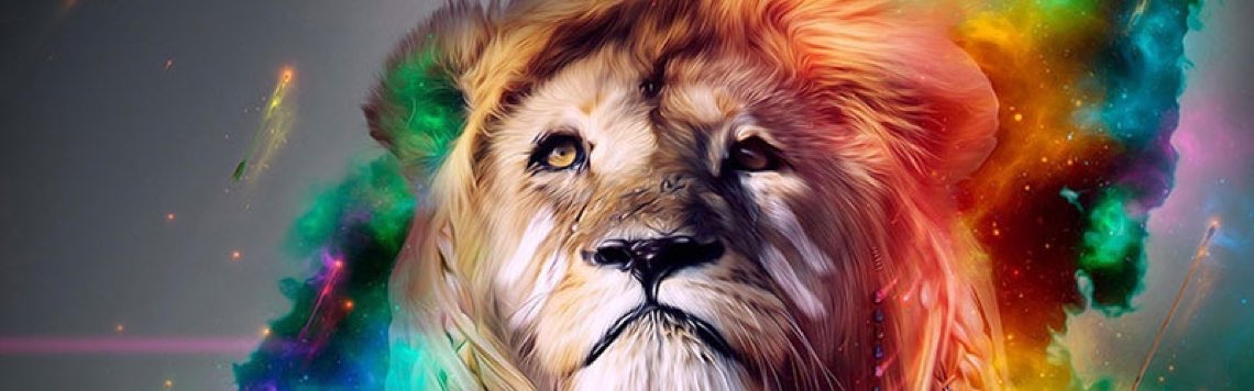 lion face colorful fb cover