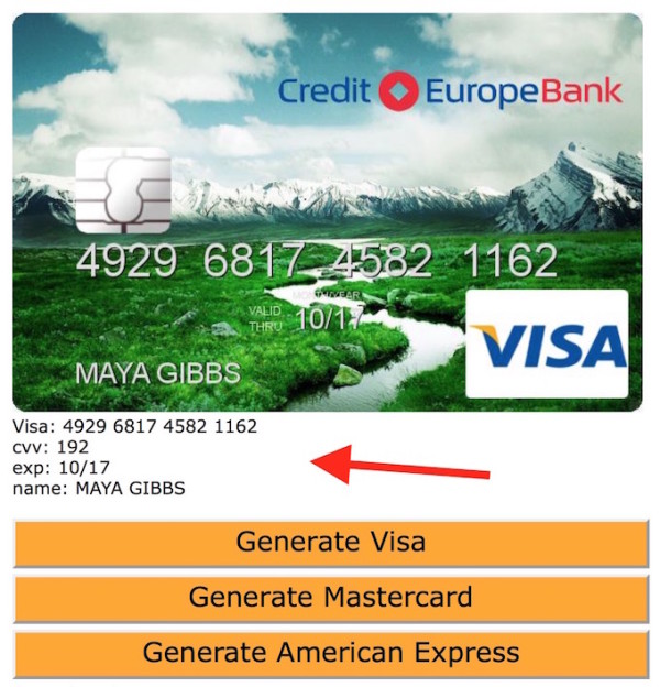 Numbers Fake Generator Websites Credit Card Free
