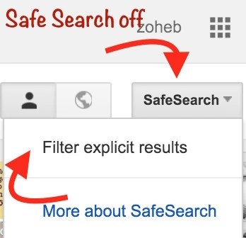 Safe Search off setting