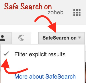 Safe Search on settings