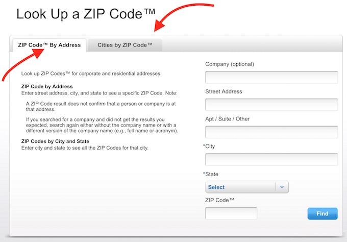 Find ZIP Code and Address in the US