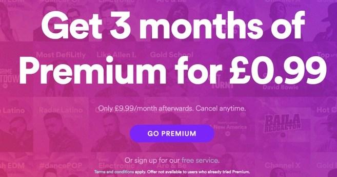 spotify premium 3 months free