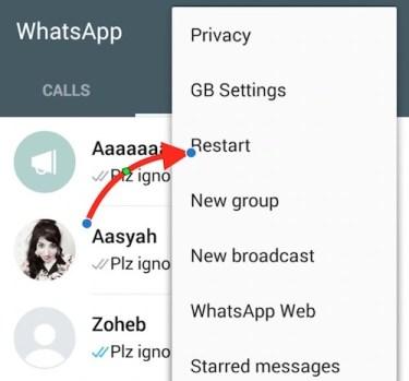 Restart WhatsApp
