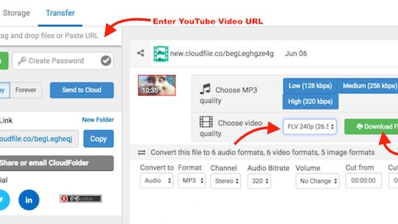 Convert YouTube to wav, mp3, mp4, flv, m4a, aac, flac, wma