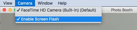 Turn On or Off Screen Flash on Mac's Photo Booth Camera