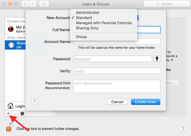Select User Type on Mac