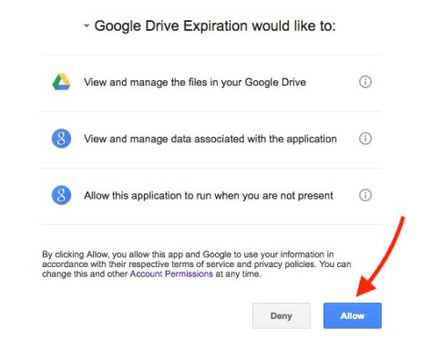 Allow Permission to access Google Drive Info