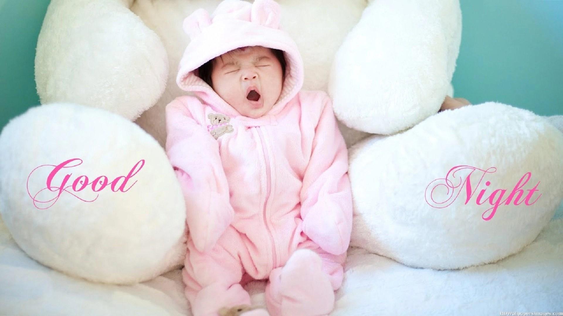 good night baby yawning image