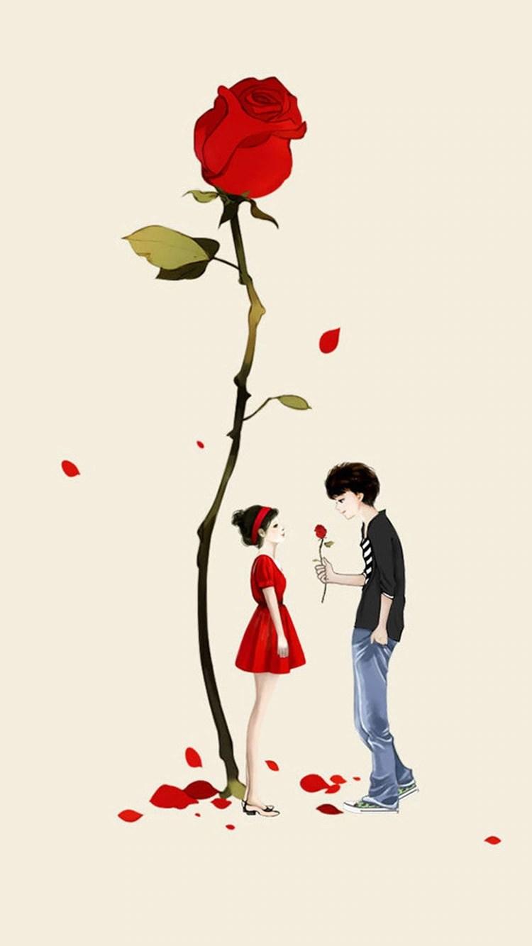 iPhone 7 big rose couple love wallpaper