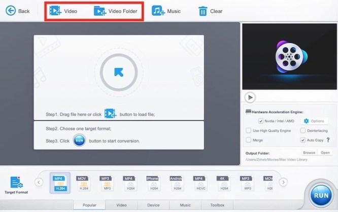 video or video folder option