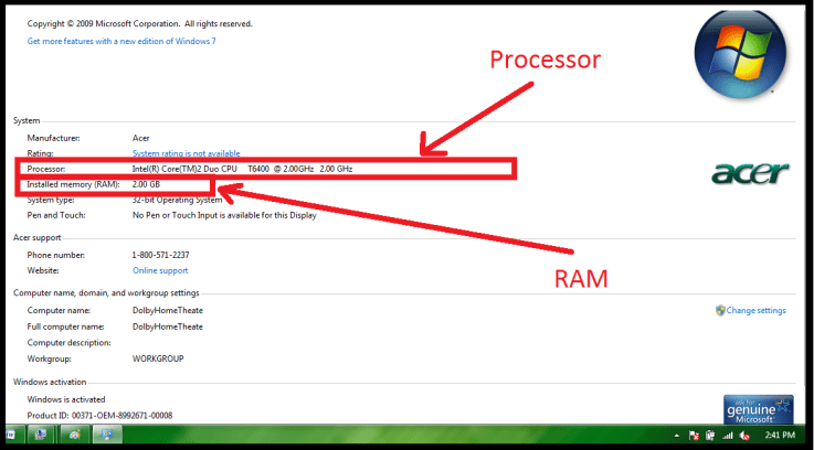 how to check processor and ram of laptop