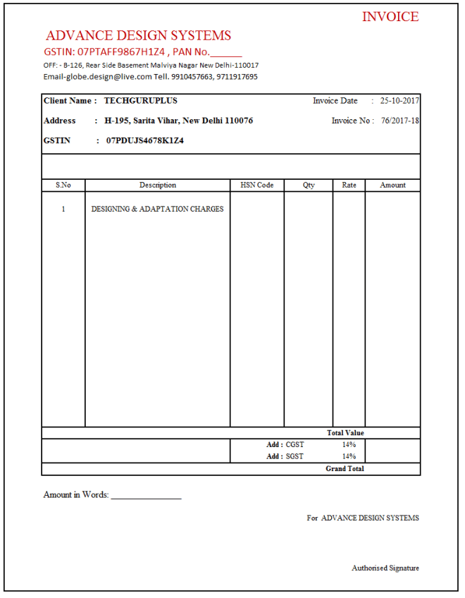 GST Tax Invoice Format in Excel, Word, PDF and PDF