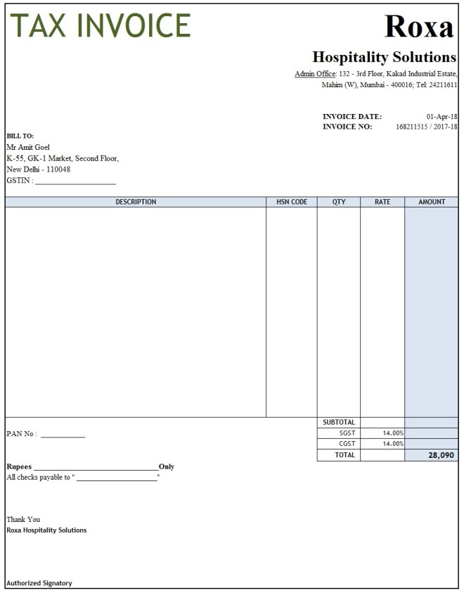 Gst Invoice Format In Excel Word Pdf And Jpeg Format No 8
