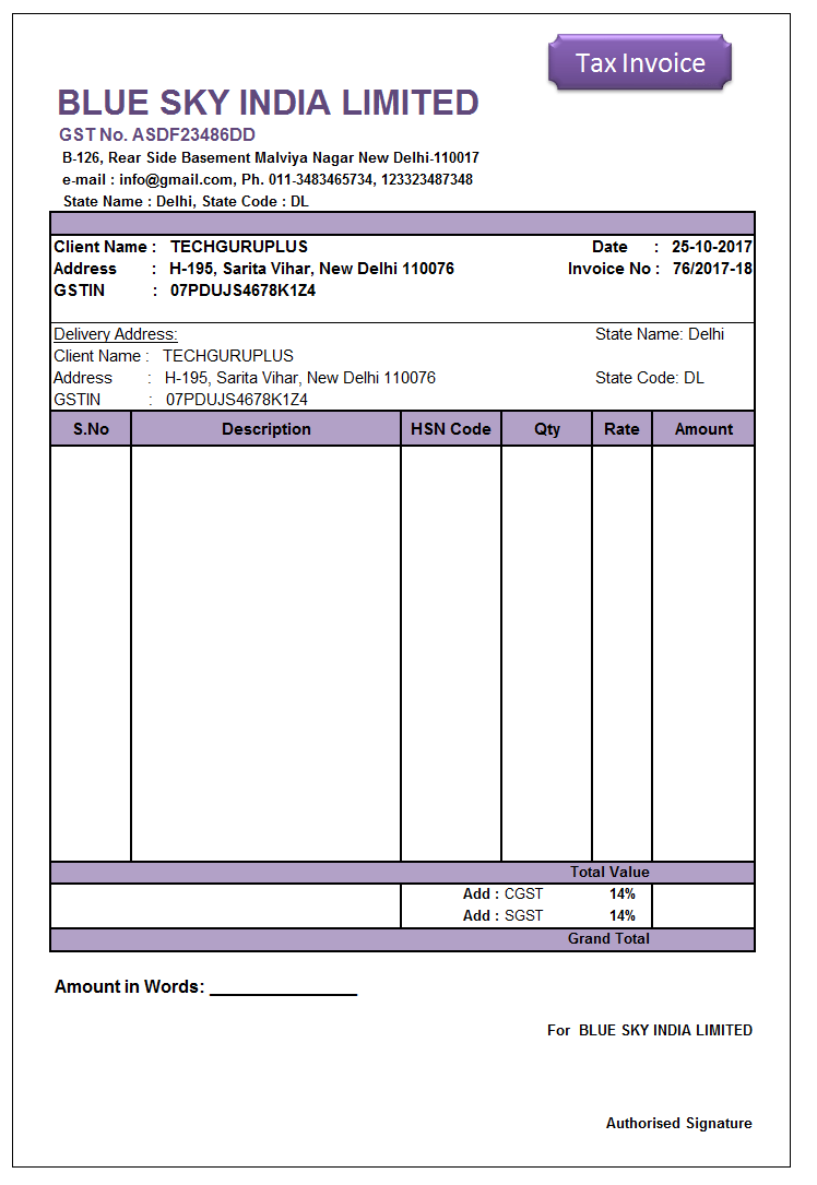 invoice template in excel