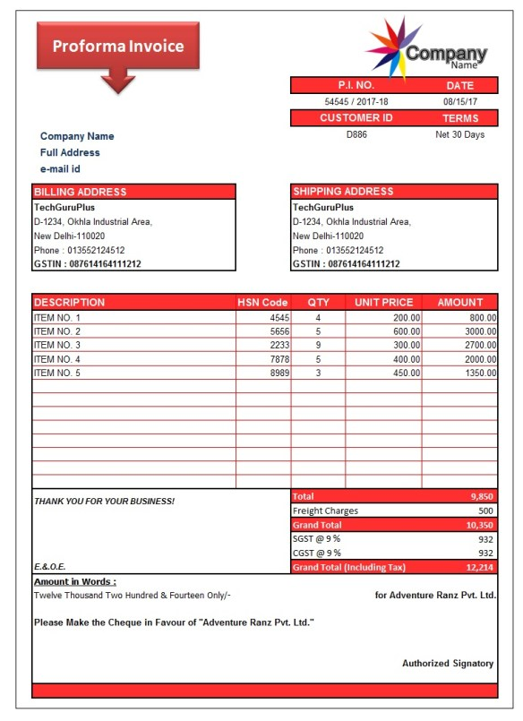 9 Simple Proforma Invoice Template Xls