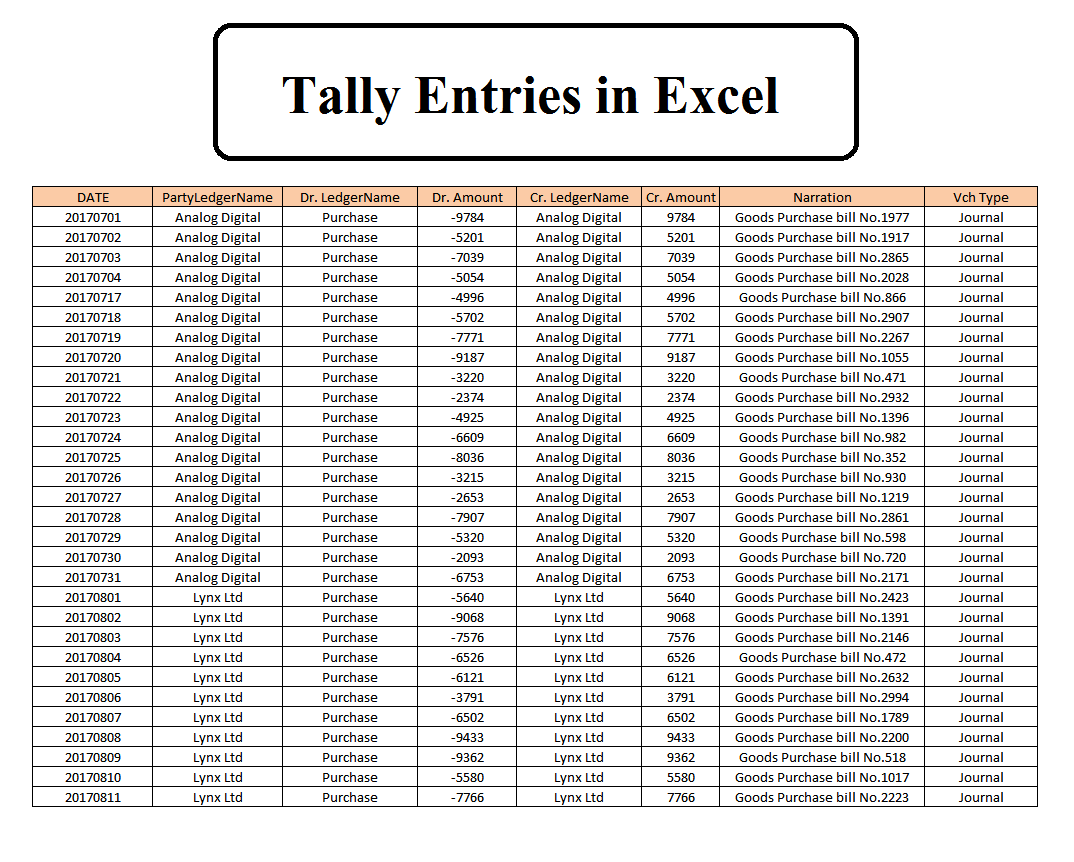 Excel to Tally