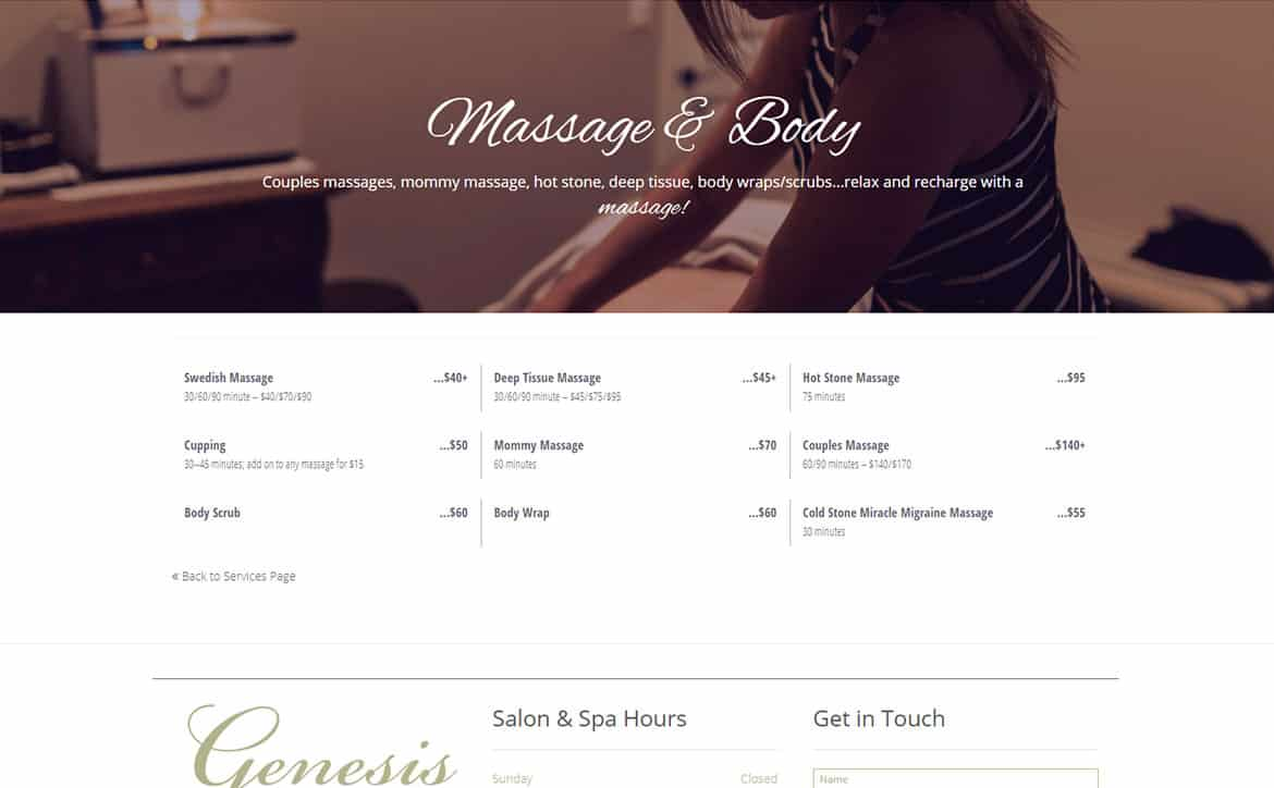"Genesis Salon & Spa internal ""services"" custom post type page"