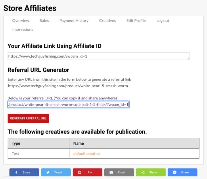Affiliate Custom URL Generated