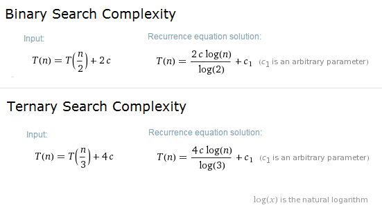 Ternary Search vs Binary search complexity analysis
