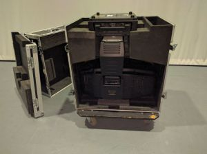 The unit is side loaded into the flight case which minimises the need to handle the fixture.
