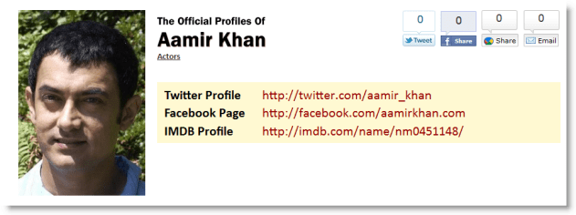 Find Aamir Khan's Official Social Networking Profiles easily using TheOfficialProfileOf