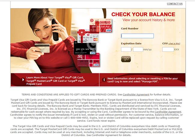 MyBalanceNow Login - Check Your MyBalanceNow Target Gift