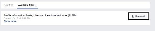 Download Facebook data