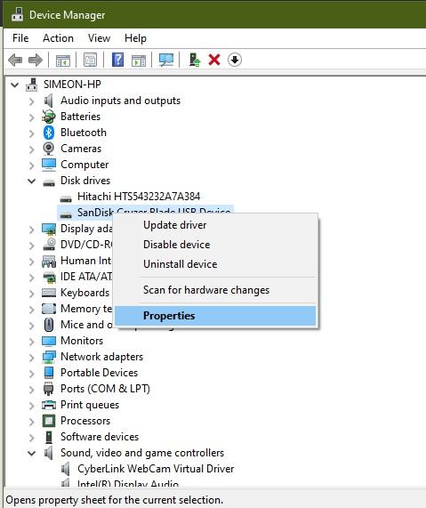 Disk Drive properties