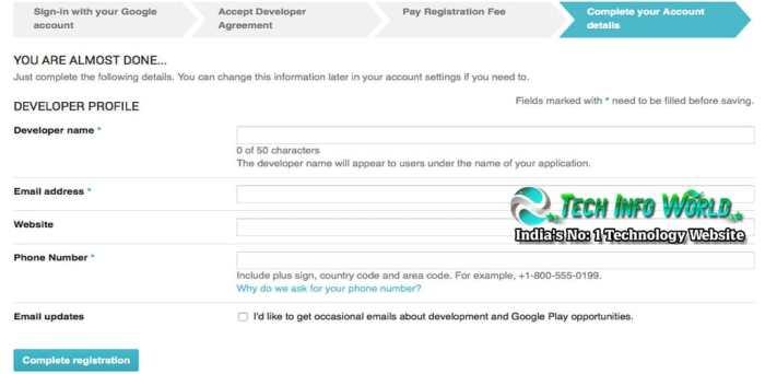 Google Play Developer Console Account profile