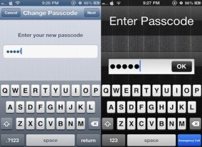 iPhone alphanumeric password